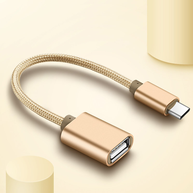 braid Type C USB 3.1 Male to OTG Type-A Female Adapter Cord For Android leTV Huawei oppo vivo Tablet PC samsung Smartphone(China)