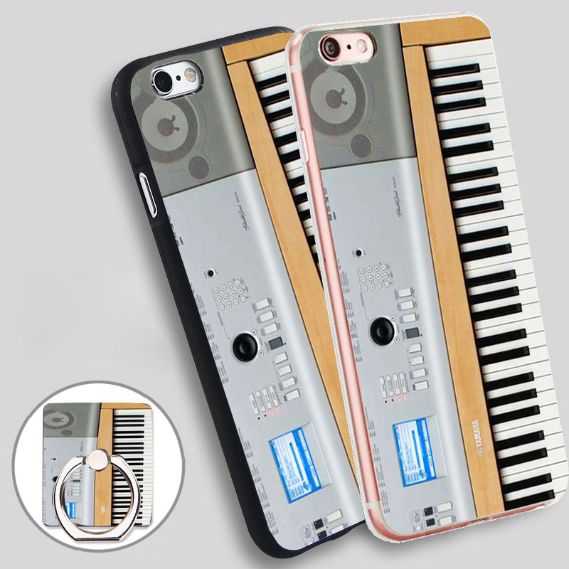 Keyboard Digital Piano Phone Ring Holder Soft TPU Silicone Case Cover for iPhone 4 4S 5C 5 SE 5S 6 6S 7 Plus