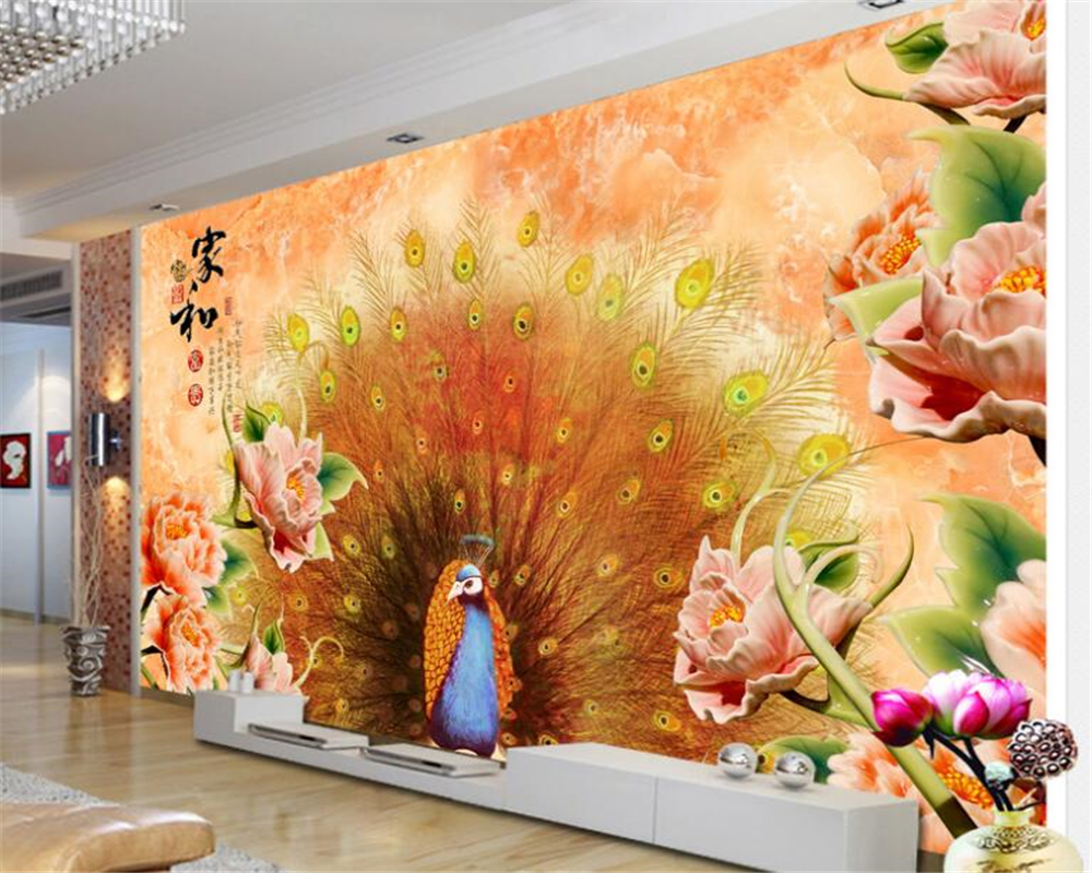 Large papel de parede decorative 3d wall panels murals wallpaper for - Beibehang 2017 New Personality Papel De Parede 3d Wallpaper Home Decoration Painter And Rich Peacock Open Screen Background Wall