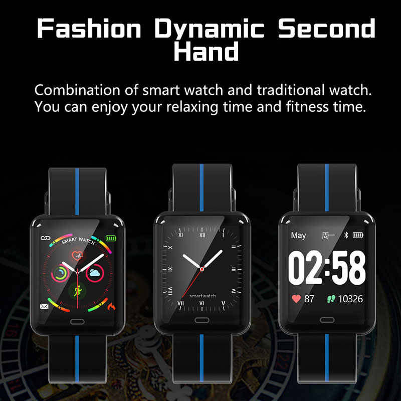 Boamigo Kebugaran Tracker Smart Watch Pria Wanita Denyut Jantung Tekanan Darah Olahraga Pergelangan Tangan Band Gelang untuk Android IOS