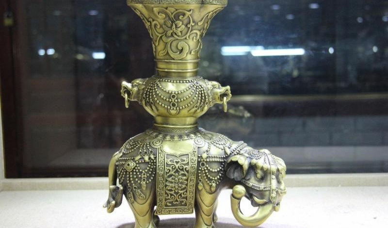 Chinese Brass Copper Elephant God Bottle Cup Vase Statue Incense Burner Censer