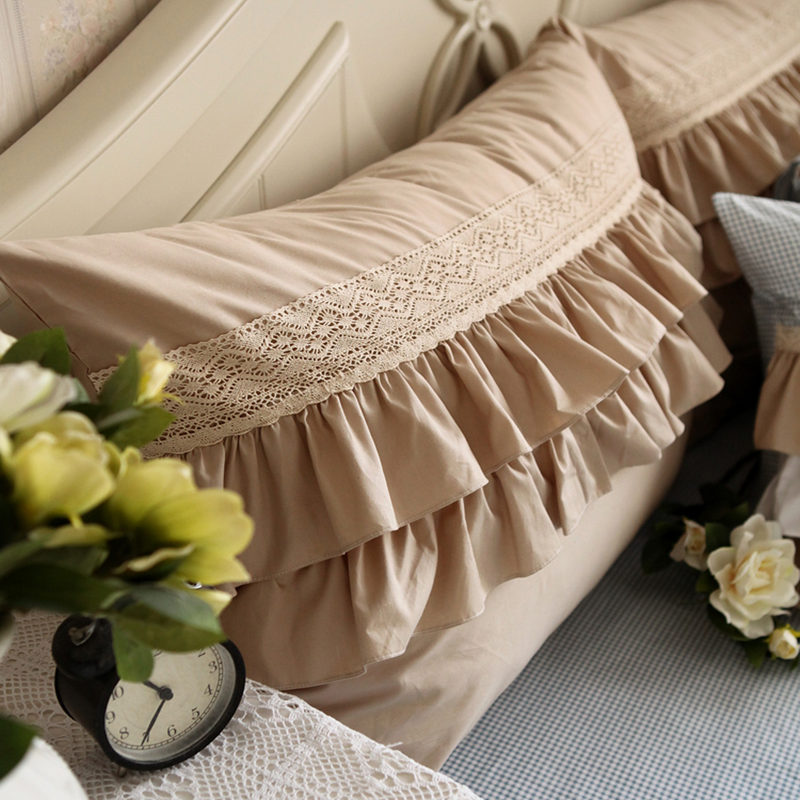 New european style decorative pillowcase cotton classic khaki lace pillow case cake layers pillow cover (not include filler)