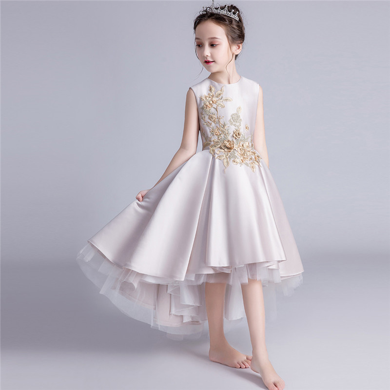 2018 Luxury Fashion Children Girls Embroidery Flowers Birthday Evening Party Prom Dress Baby Kids Model Piano