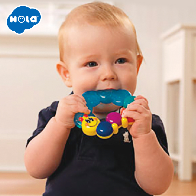 HUILE TOYS 306D Baby First Soothing Teether Toy Baby Silicon Smoothing Teething Toys Caterpillar Links Water Filled Soft Teether