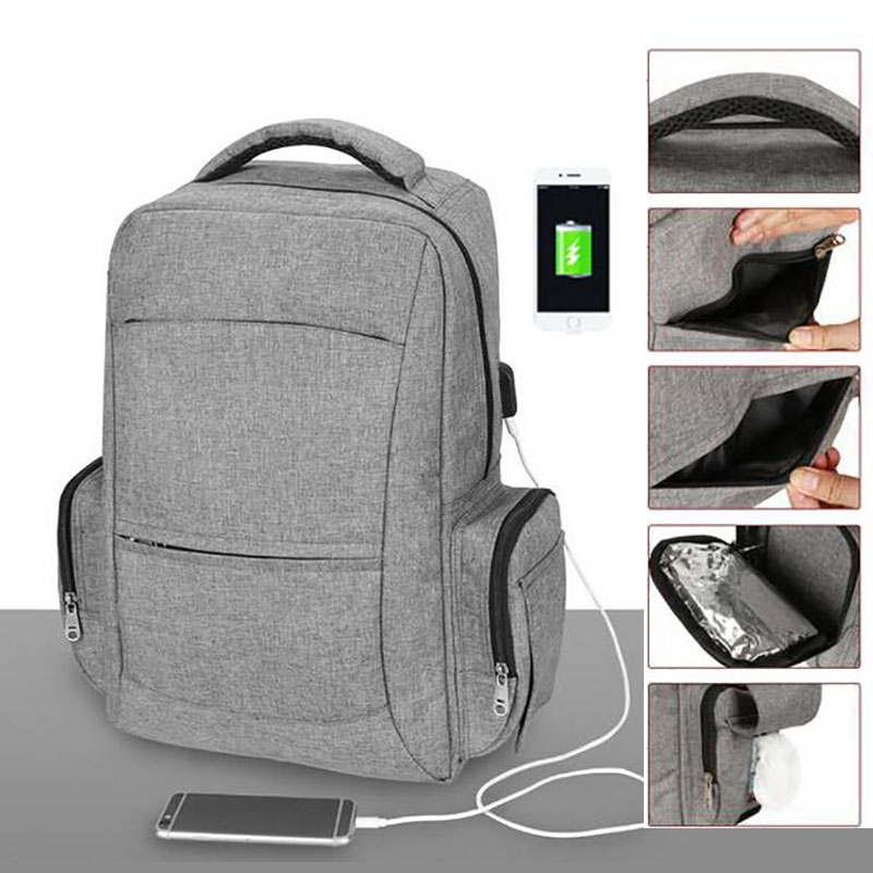 Fashion Backpack For Mom With USB Interface Waterproof Diaper Backpack Outdoor Travel Baby Care Bag For Mommy DaddyFashion Backpack For Mom With USB Interface Waterproof Diaper Backpack Outdoor Travel Baby Care Bag For Mommy Daddy