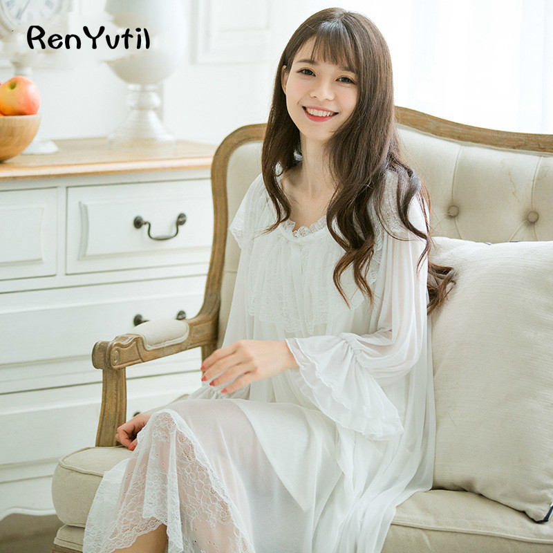Renyvtil Fashion Spring Summer Retro Princess Nightdress -3278