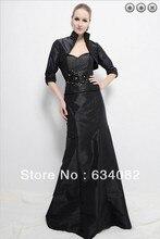 percuma penghantaran 2014 wanita pakaian elegan plus saiz vestidos formales lengan panjang hitam ibu pakaian pengantin dengan jaket