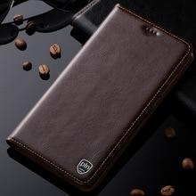 Para meizu meilan note 3 case cubierta del cuero genuino para meizu m3 note soporte magnético del tirón del teléfono case