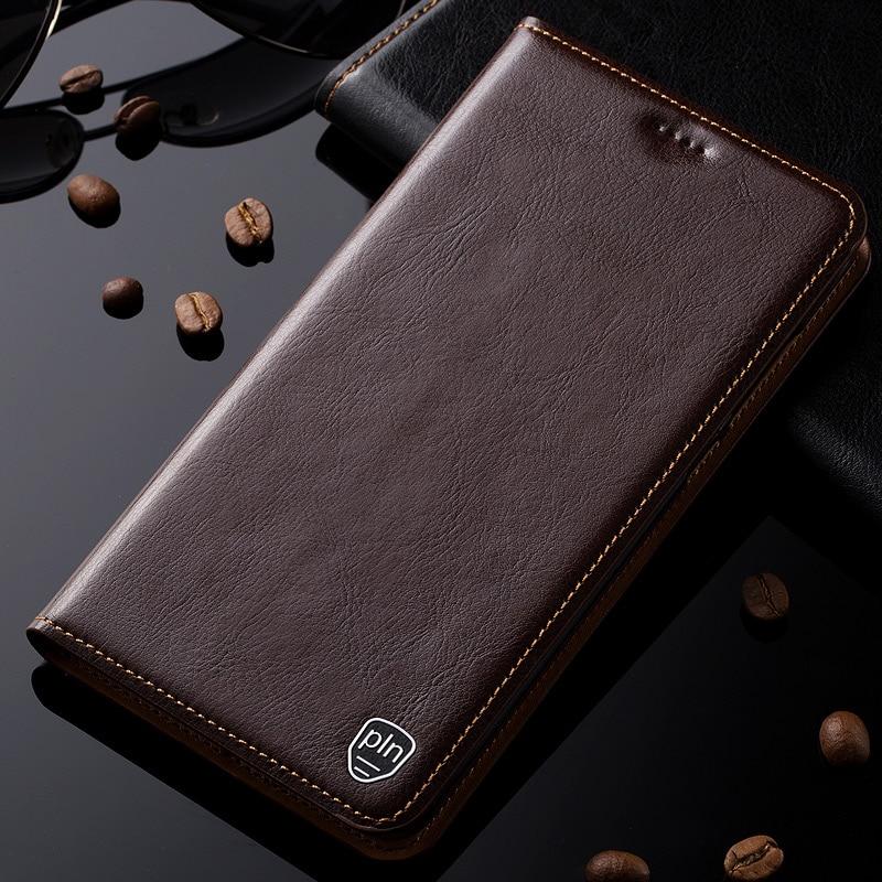 Pour Microsoft Nokia Lumia 650 Cas En Cuir Véritable Couverture Magnétique Flip Stand Cas de Téléphone