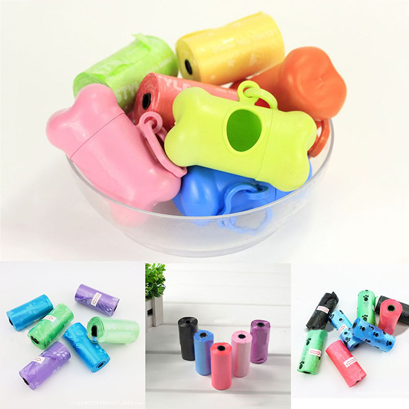 Pet Dog Poop Bags Box Colorful Portable Bone-shaped rubbish bag poo storage box(Without bags) Practical