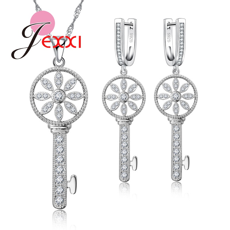 Jemmin Netherland Windmill Design Women Jewelry Set High Quality S925 Silver And Crystal Earrings+ Necklace Chain PendentJemmin Netherland Windmill Design Women Jewelry Set High Quality S925 Silver And Crystal Earrings+ Necklace Chain Pendent
