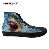 WHEREISART Cool 3D Blue Animal Dolphin Print Spring Flats Women Shoes Canvas Fashion High Top Vulcanize Breathable Shoes Girls