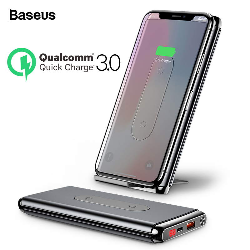 Baseus 10000mAh Quick Charge 3.0 Power Bank Portable Qi Wireless Charger Powerbank For Xiaomi mi Fast Wireless External Battery