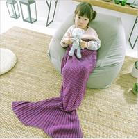 Tangpan 3 Color Wool Knitted Mermaid Tail Blanket Handmade Children Throw Bed Wrap Super Soft Children Swaddle Blanket