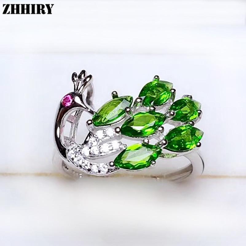 ZHHIRY véritable anneau Diopside naturel pour les femmes 925 en argent Sterling pierre gemme forme de paon anneaux bijoux fins