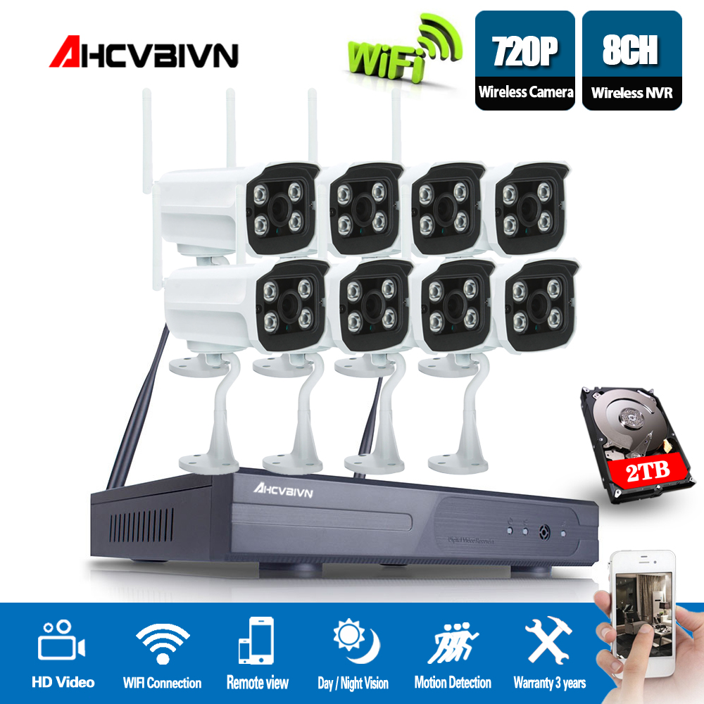 720P 8CH Wireless NVR CCTV System wifi 1.0MP IR Outdoor Bullet P2P IP Camera Waterproof Security Video Surveillance Kit720P 8CH Wireless NVR CCTV System wifi 1.0MP IR Outdoor Bullet P2P IP Camera Waterproof Security Video Surveillance Kit