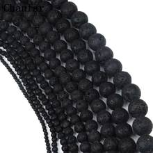 Wholesale Black Lava Beads Natural Volcanic Rock Stone Beads Loose 4 6 8 10 12 14 16 18 20mm Handmade Jewelry Making(China)