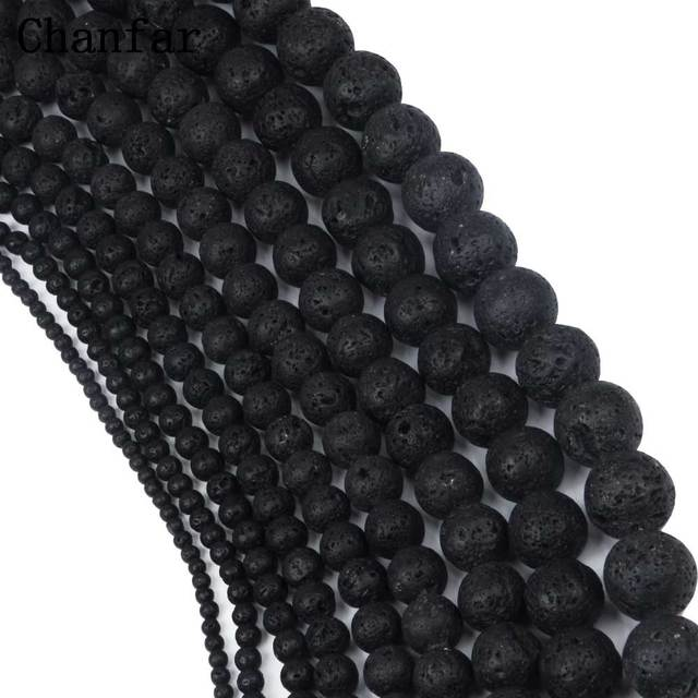 Wholesale Black Lava Beads Natural Volcanic Rock Stone Beads Loose 4 6 8 10 12 14 16 18 20mm Handmade Jewelry Making