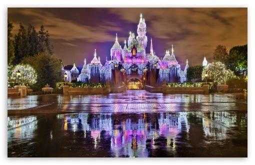 FREE SHIPPING Sleeping Beauty Castle Christmas at Disneyland wallpaper 24x36 inches.jpg Q90.jpg