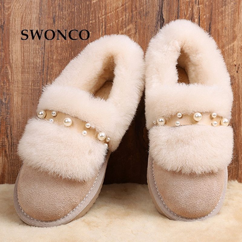 SWONCO Women's Snow Boots Korean Style Genuine Leather Fur Warm Plush Winter Boot Ankle Boots For Women Female Shoes Woman Boot m general women leather winter boots woman snow boot female comfortable ankle shoes breathable platform warm shoe mj 0133