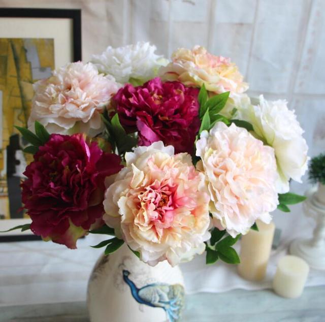 10pcs Single branch peony artificial flowers bouquet centerpiece ...