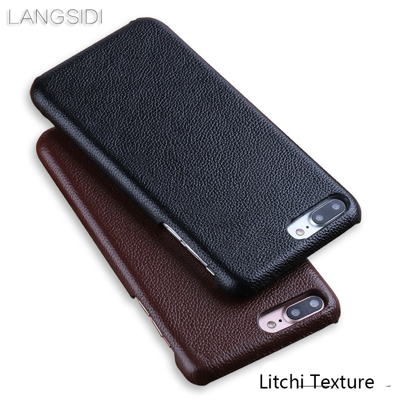 Luxury Genuine leather Phone Case For iPhone 7Plus case Litchi Texture Ultra Slim Back Cover For 6 6S 8 Plus X XR 5 5S SE cases