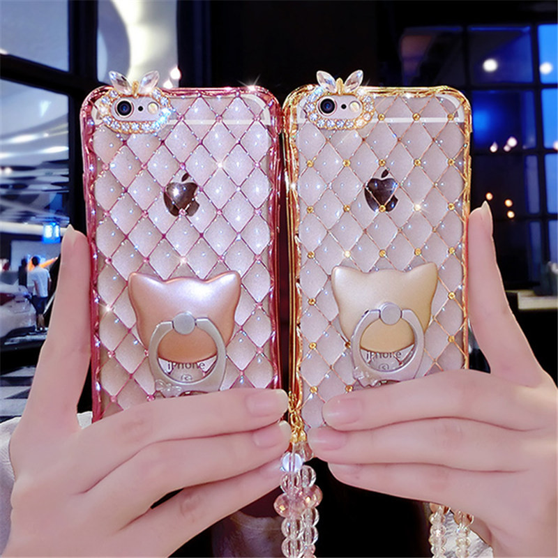 For SamsungS5 S6 S7E S8PLUS N4 N5 Luxury Fashion Cat Ring Support Soft Plating Diamond Phone Case Back Cover With Pearl Lanyard