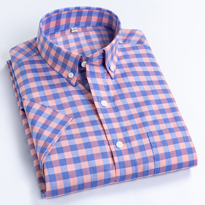 Men's Plus Size Casual Short-Sleeve Checkered Shirts Standard-fit Summer Thin Soft 100% Cotton Button-down Plaid Dress Shirt