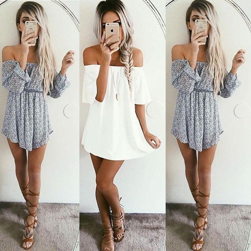 Summer Women Sleeveless Dress Casual Party Off Shoulder Dress Evening Short Mini Dress