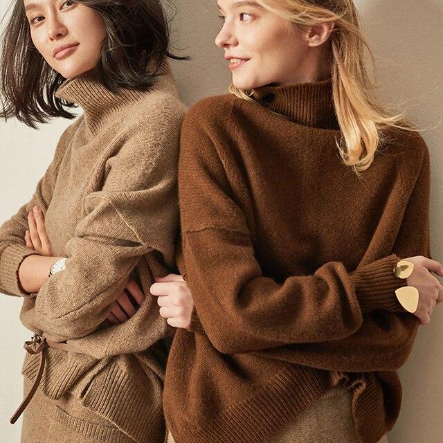 Europa Estados unidos outono inverno soltos mulheres camisola de gola alta suéter de cashmere fêmea cor caramelo mais grosso pulôver