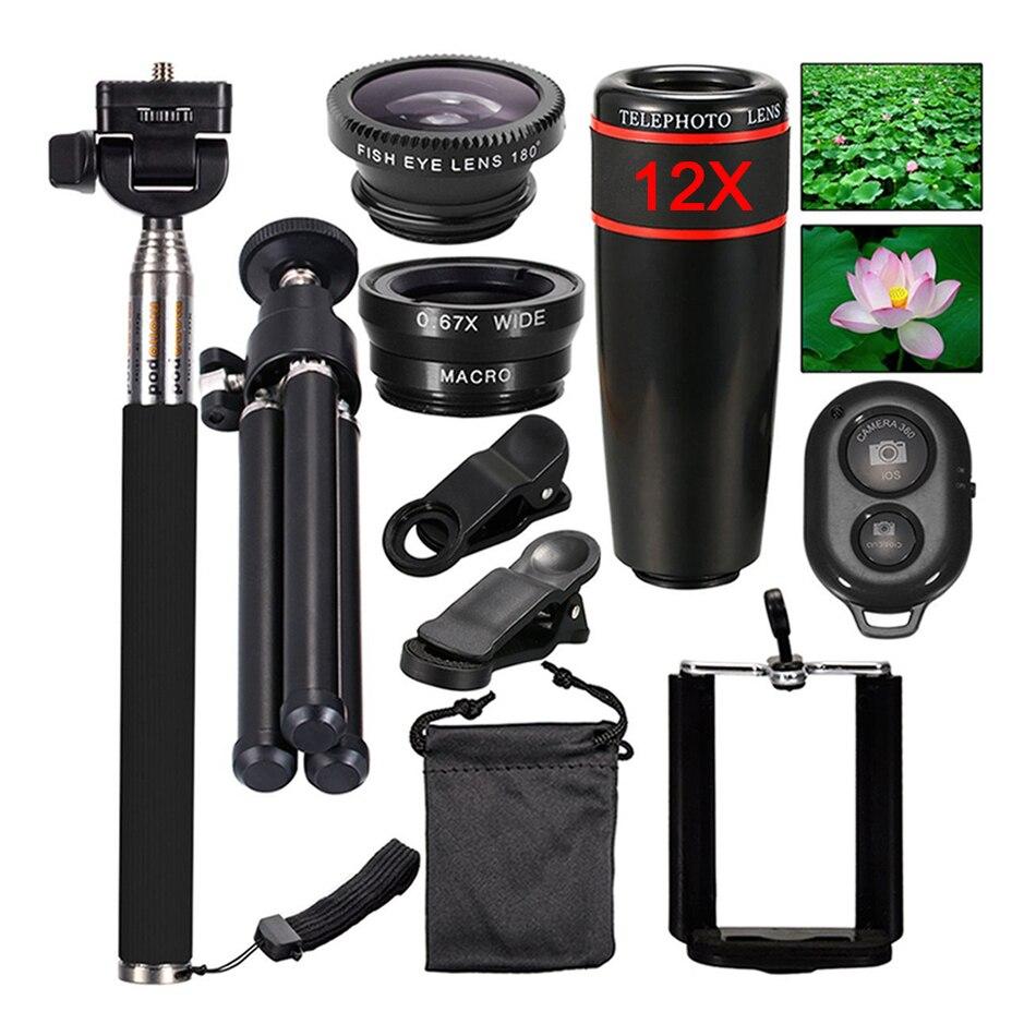 bilder für 2017 kamera-objektiv-kit 12x zoom tele fisheye linsen einbeinstativ bluetooth shutter stativ für iphone und android handy lentes