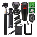 2017 kit camera lens 12x zoom telefoto fisheye lentes do obturador bluetooth monopé tripé para iphone e android telefone celular lentes