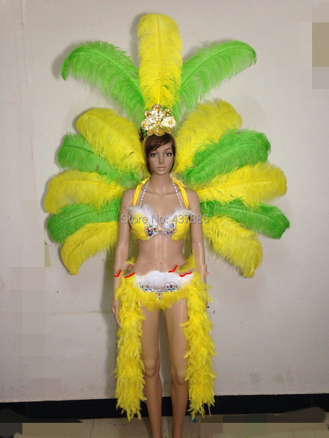 4a2e3a54b1117 Feather flower backboard costume showgirl performance sexy cabaret dance  carnival dancewear feather costumes for women