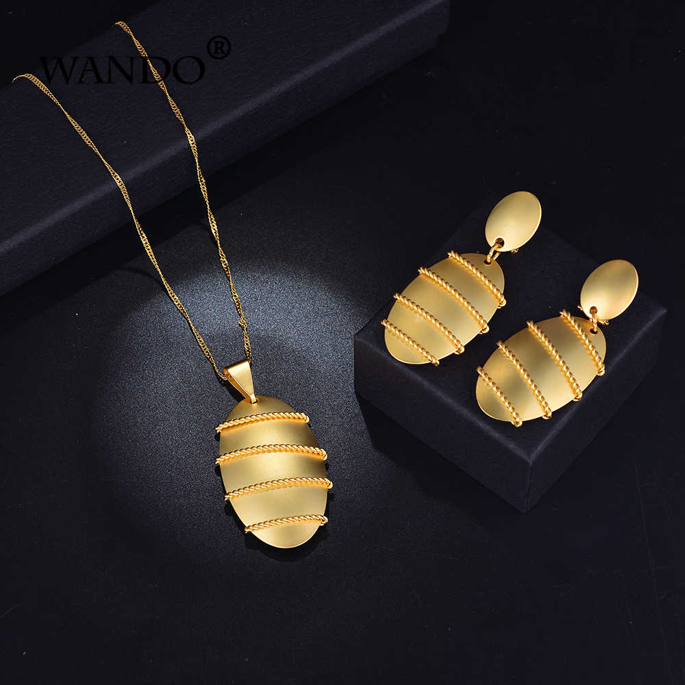اندو مجوهرات الاثيوبية مجموعات قلادة قلادة أقراط الذهب اللون Eritrean عطلة دبي النساء الفتيات الزفاف هدايا s128