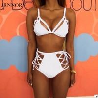 JRNNORV White Swimsuit High Waist Bikinis Women Swimwear Beach Sexy Swimming Suit Maillot De Bain Summer