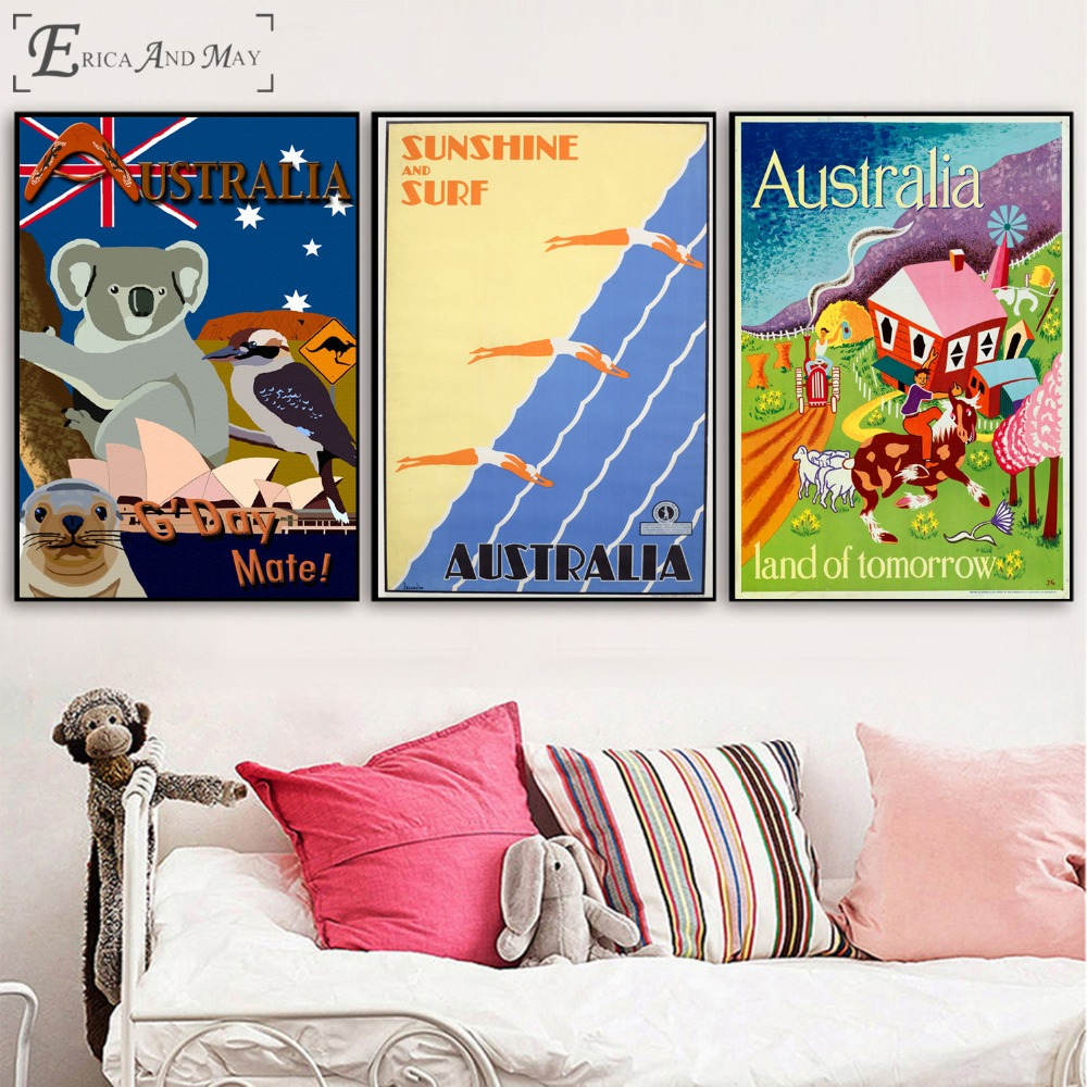 Australia Travel Vintage On Sale Poster Wall Painting Living Kids Room Abstract Canvas Art Pictures For Home Decor No Frame