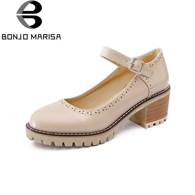 BONJOMARISA Big Size 33-43 Square High Heels Mary Janes Shoes Women Pumps Platform Retro Brogue Shoes Lady Footwear