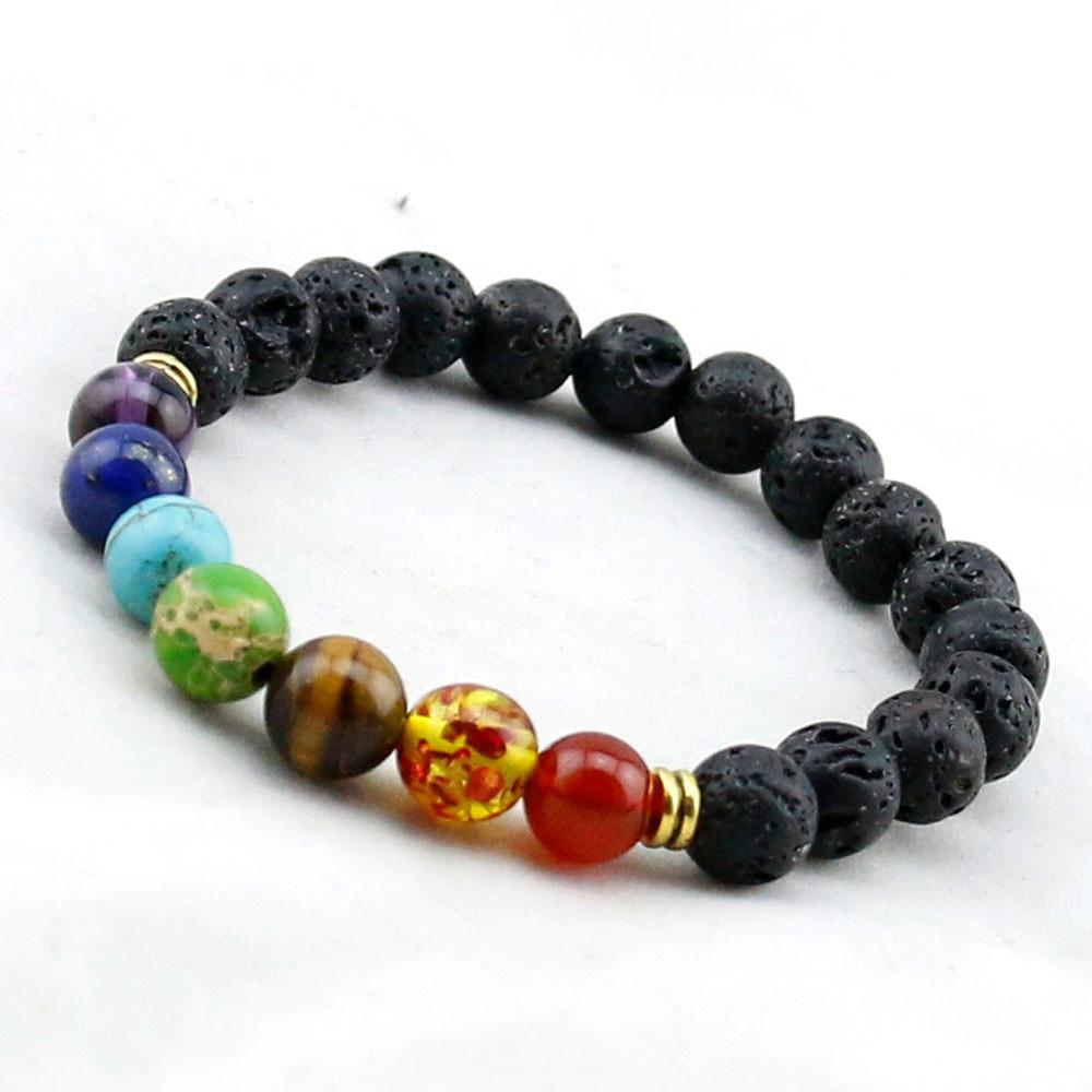 Muti Color Mens Bracelets Black Lava 7 Chakra Healing Balance Beads Bracelet For Women Reiki Prayer Yoga Stones In Strand From Jewelry