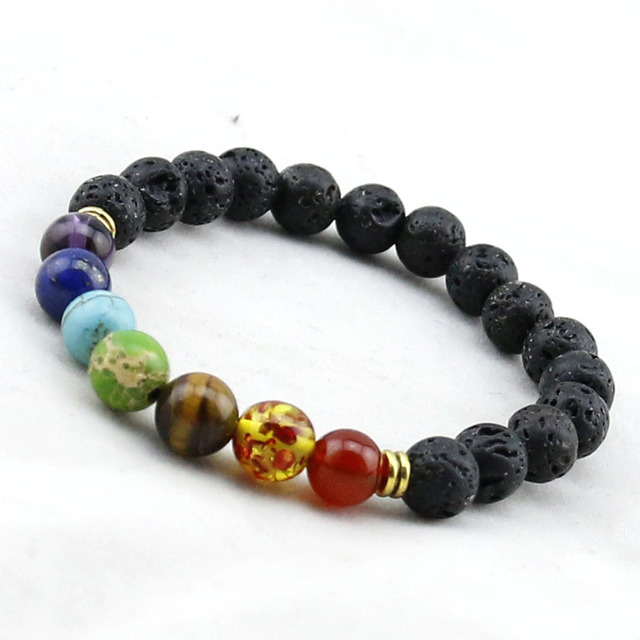 Muti Color Mens Bracelets Black Lava 7 Chakra Healing Balance Beads Bracelet For Women Reiki