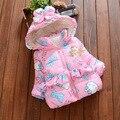 Bebé de Invierno Chaqueta de Invierno de La Muchacha Capa 7-24 M Hello Kitty de Algodón Acolchado Abajo Parkas Con Capucha Niños Windbreaker gruesa ropa de Abrigo Cálido