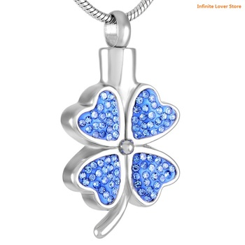 KLH8220 Stainless Steel Shamrock Cremation Pendant Urn Jewelry Holds Pet Human Ashes Wholesale Shamrock Urn Necklace for Women фото