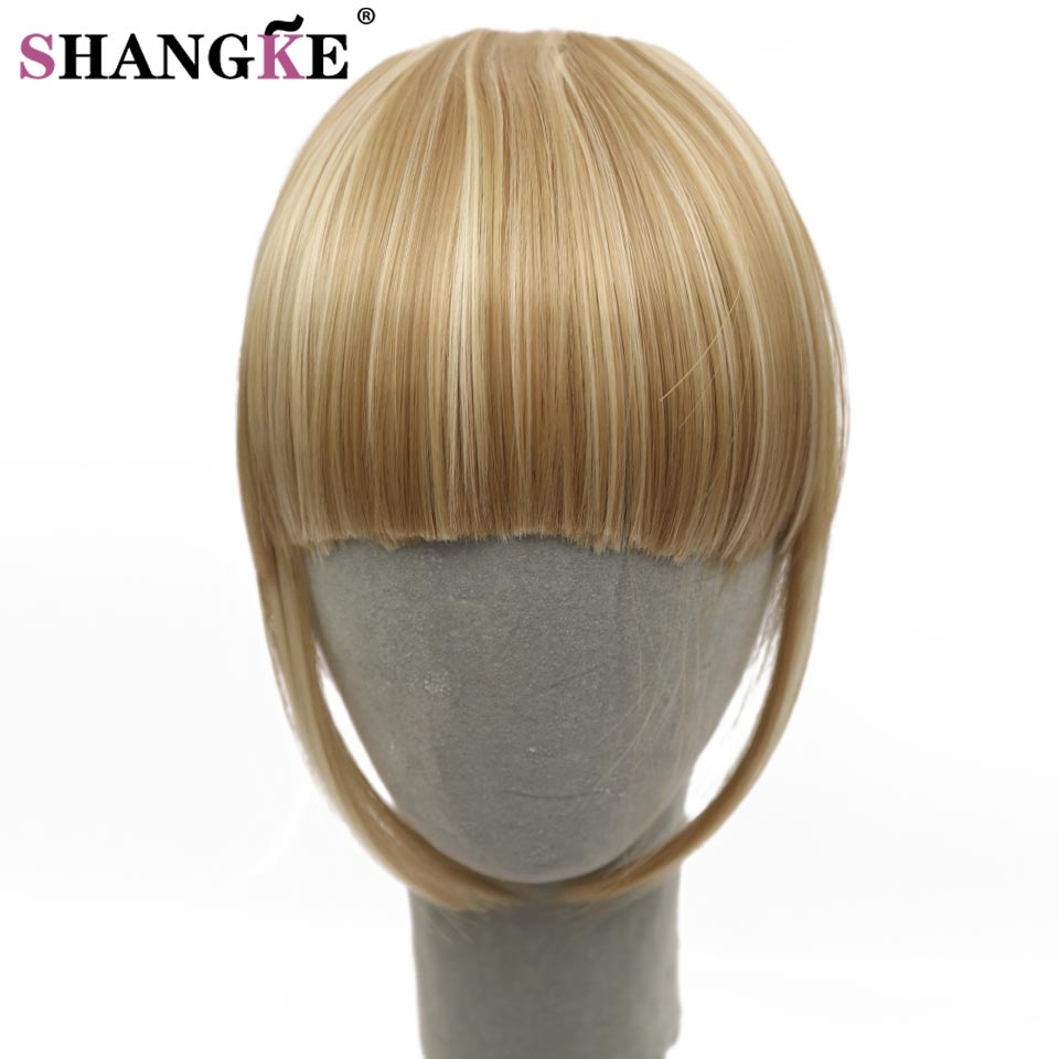 SHANGKE Fringe Clip In Hair Bangs Hairpiece Klip I Hårforlængelser Varmebestandigt Syntetisk Fake Bangs Hair Piece 8 Colors