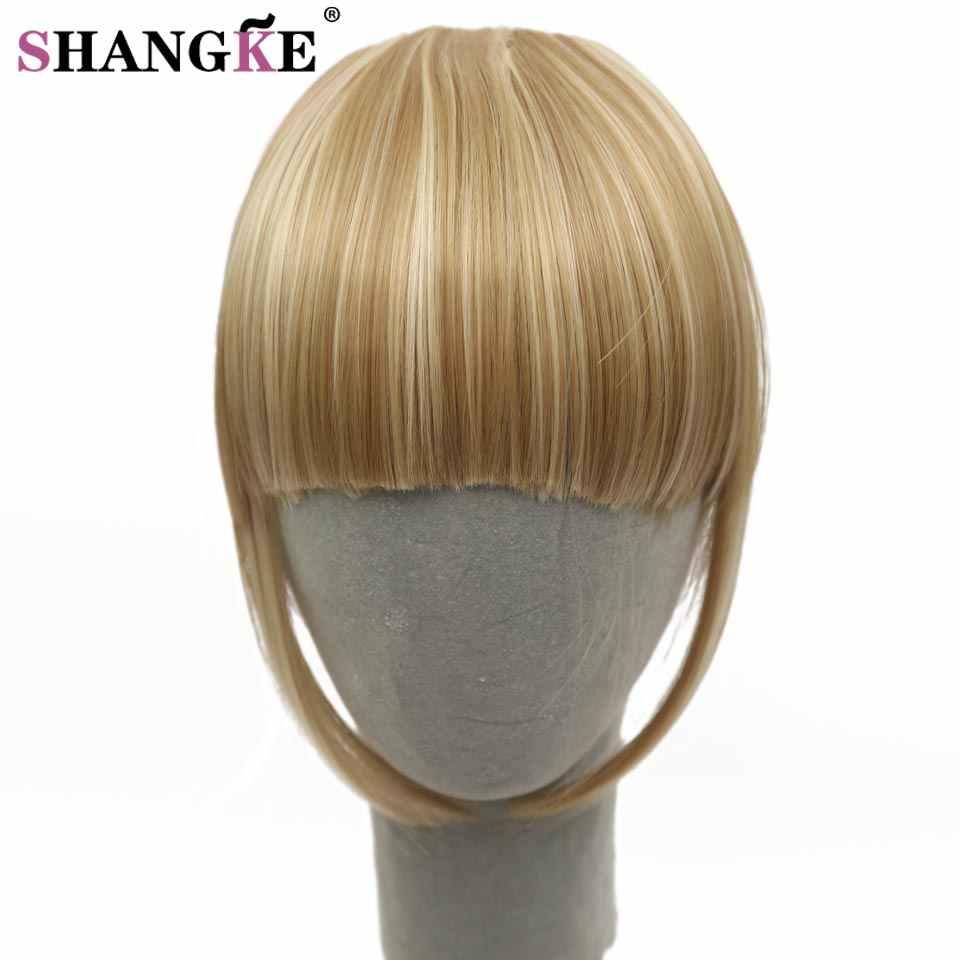 SHANGKE flecos Clip en pelo flequillo Peluca de cabello Clip en extensiones de cabello sintéticas resistentes al calor falso flequillo pelo pieza 8 colores