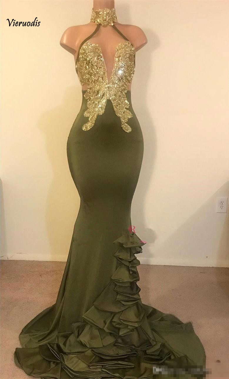 2-1           Real Photos Halter Satin Long Mermaid Prom Dresses Applique Beaded Layered Ruffles Sweep Train Evening Gowns