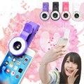 Mini selfie levou anel de luz do flash de enchimento portátil rodada holofotes lente macro clipe 0.65 grande angular lentes para smartphone tablet