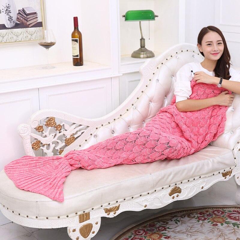 Mermaid plaid quilt mermaid tail blanket fleece plush for Cobertor para sofa