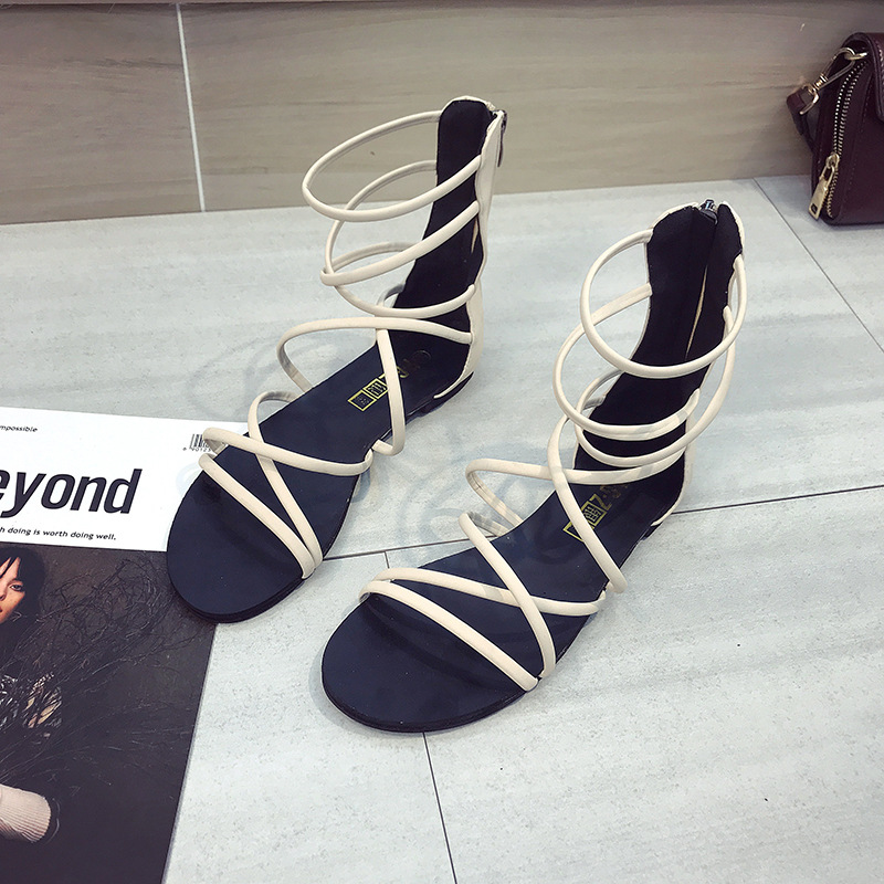 BONGEAN Summer black flat Women Sandals Open Toe Gladiator Sandals Women zipper Up Women Platform Sandals Casual Shoes 5