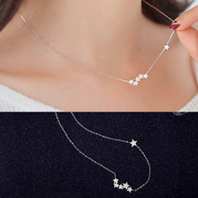 New Fashion  Multi-Piece Five-pointed Star Pendant Necklace Silver Color Choker Party Jewelry Female Clavicle Chain  Pentagon fashion multi layer ladies necklace imitation pearl crystal five pointed star luxury pendant necklace jewelry clavicle chain new