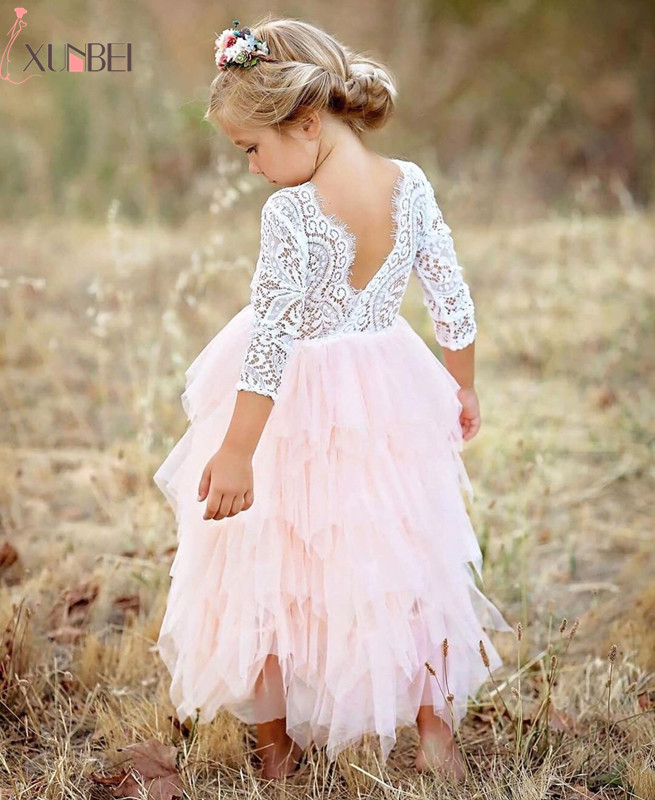 New Arrival Puffy Lace Pink Flower Girl Dresses 2018 Soft Tiered Tulle Ball Gown Pageant Dresses For Girls Communion Dresses