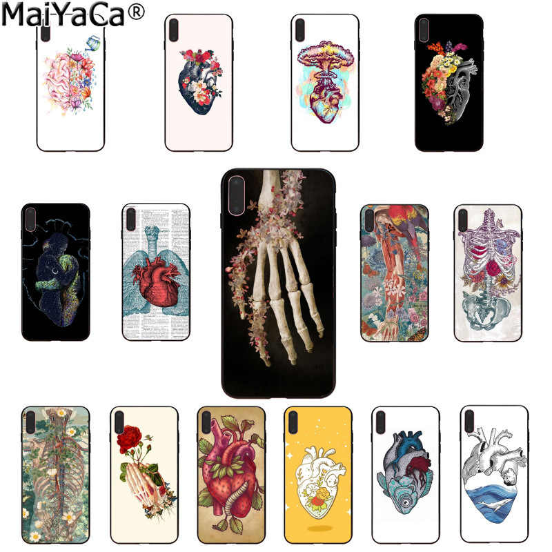 MaiYaCa Medical Human Organs Brain Meridian Kidney Art Colorful Cute Phone Case for iPhone 8 7 6 6S Plus 5 5S SE XR X XS MAX
